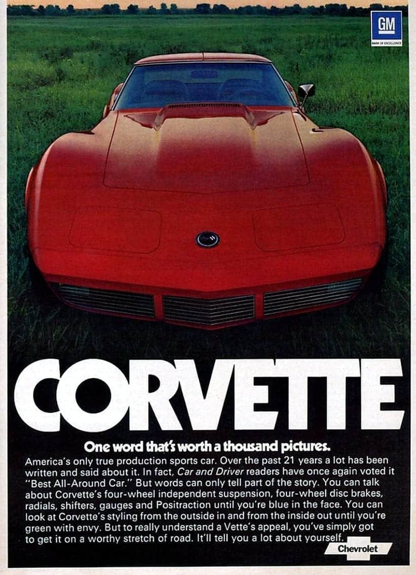1974 red corvette original advertisement