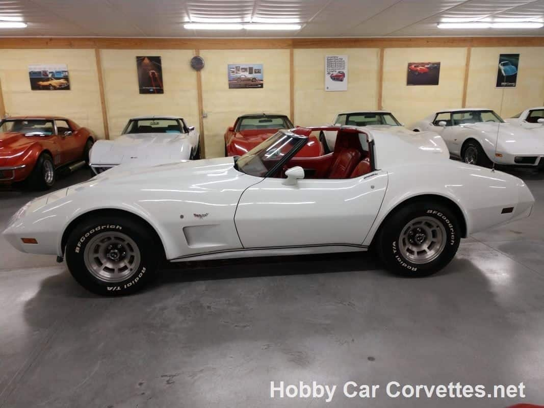 1977 White Corvette Red Interior For Sale