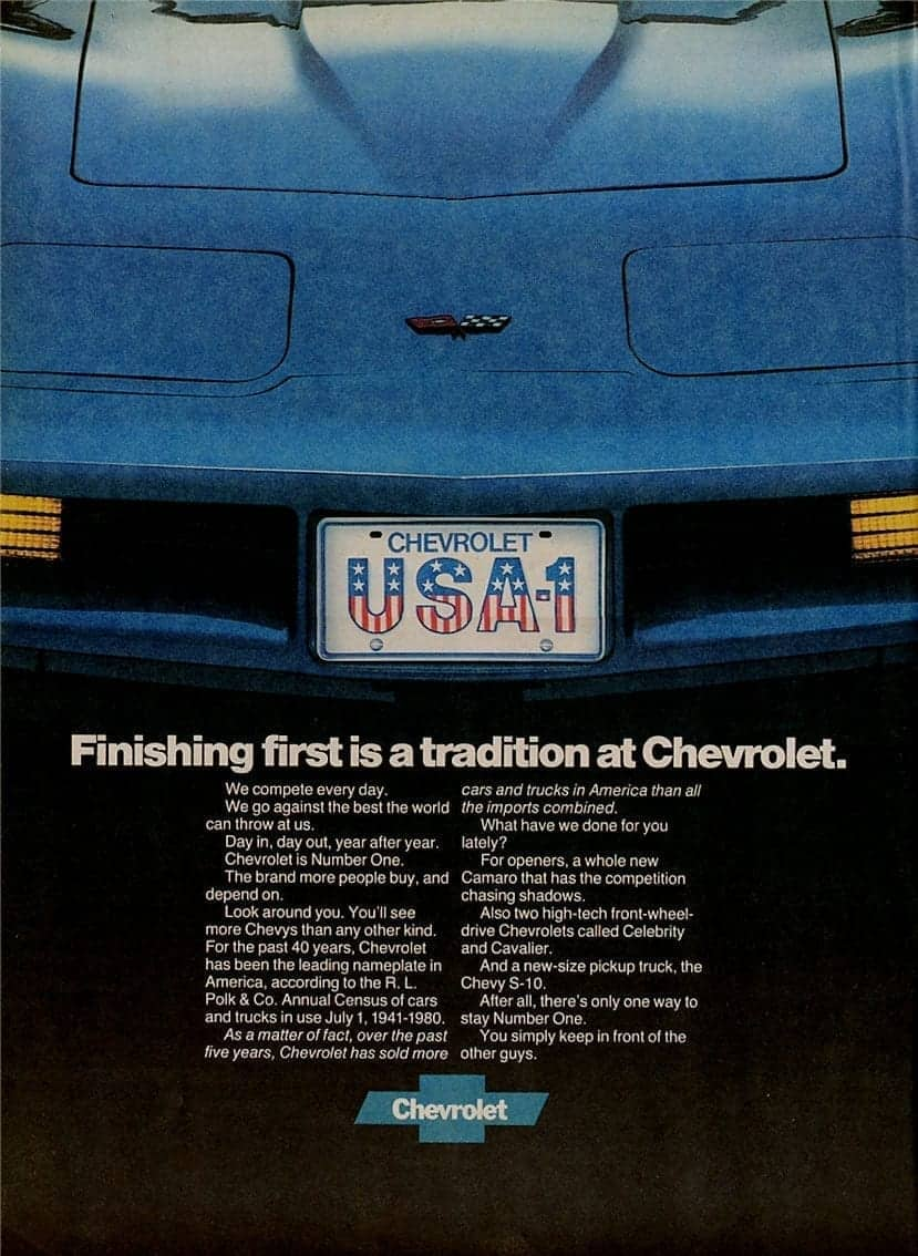 1982 blue corvette ad